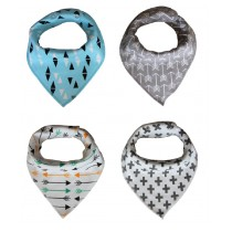 Washable Pure Cotton Drool Bibs with Adjustable Snaps for Unisex Baby Shower Gift (Multi Color)